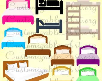 Bed clipart queen bed. Egyptian digital clip art