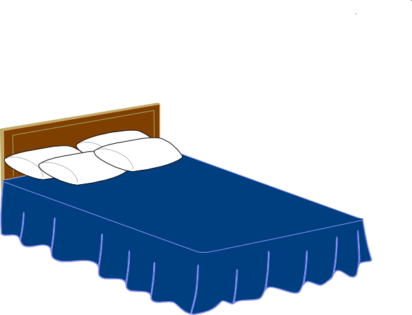 Blue clip art at. Bed clipart queen bed