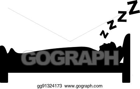 Bed clipart silhouette. Vector art of sleeping
