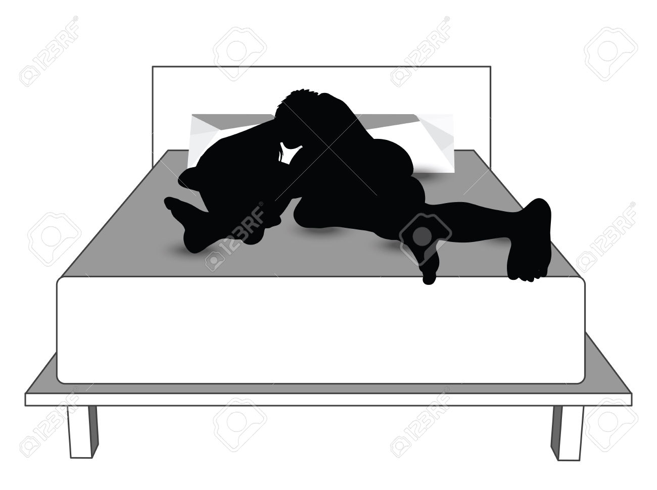 Woman lying down at. Bed clipart silhouette