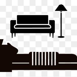 Sofa png vectors psd. Bed clipart silhouette
