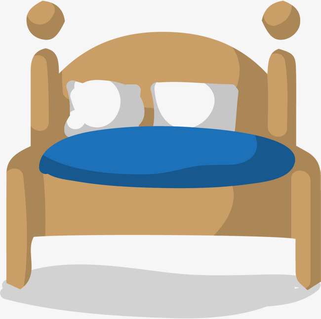 Hand painted yellow double. Bed clipart simple