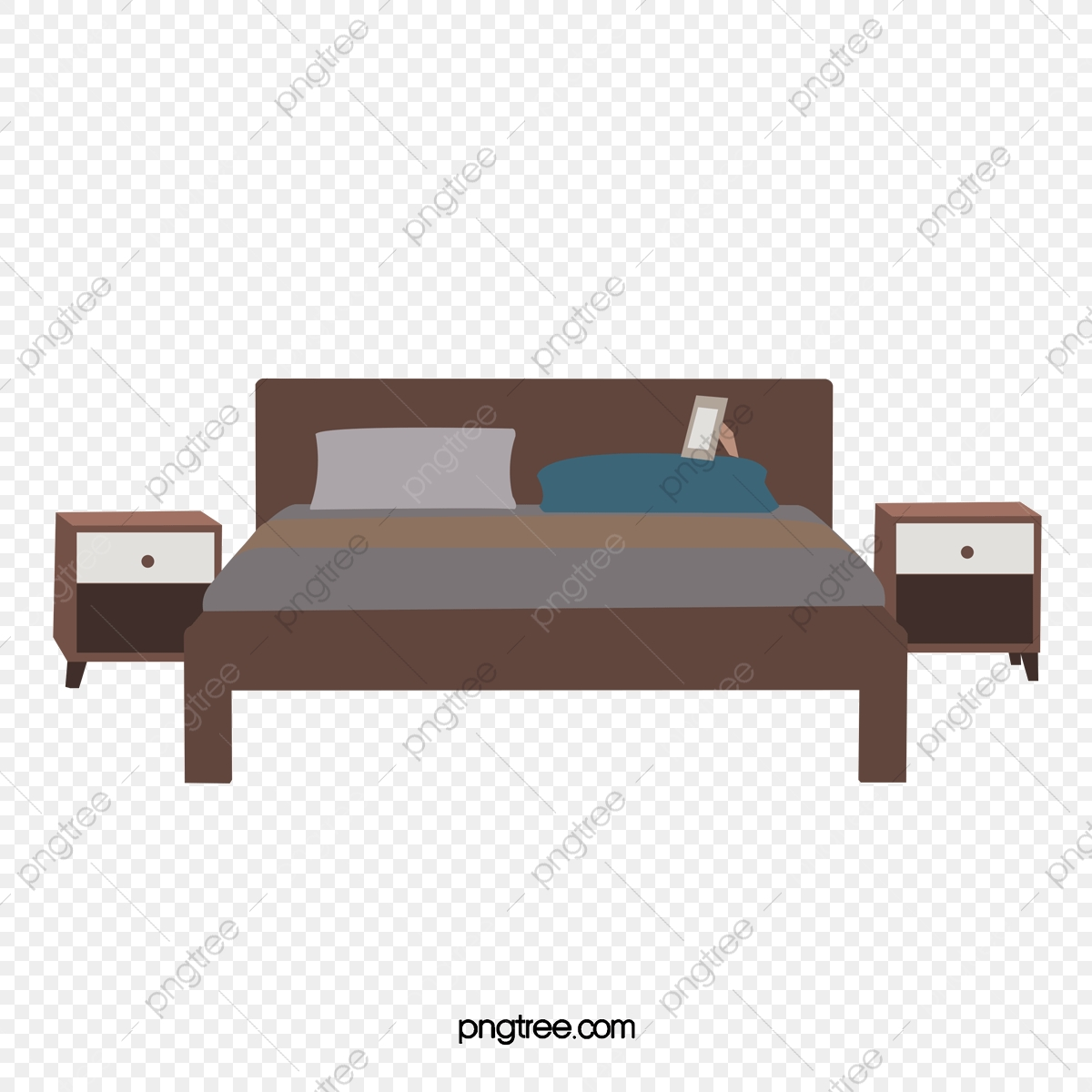 Bed clipart simple. White double bedside