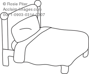 Bed clipart simple. Illustration of a