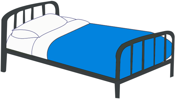 Bed clipart single. Blue panda free images