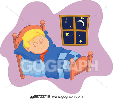 Vector art the boy. Bed clipart sleeping