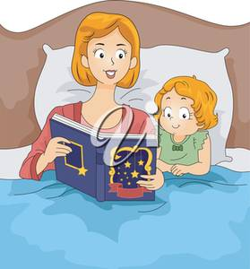 Illustration of a bedtime. Clipart bed story