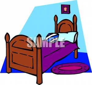 Bedroom clipart twin bed. A wooden with rug