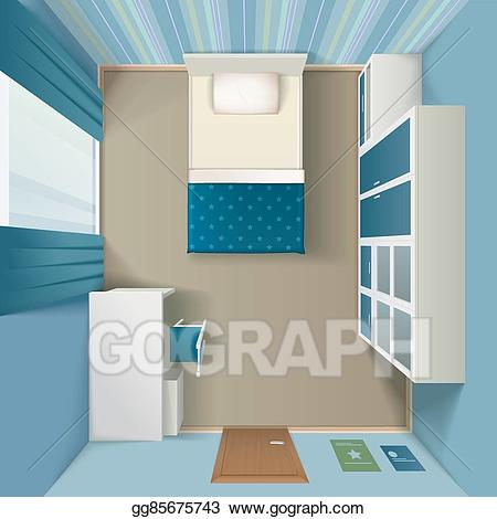 Eps vector modern bedroom. Bed clipart top view