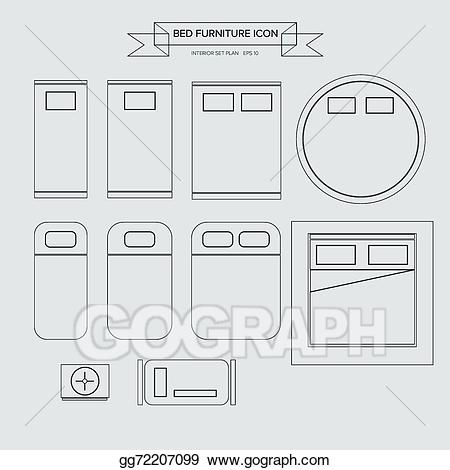 Bed clipart top view. Vector illustration furniture outline