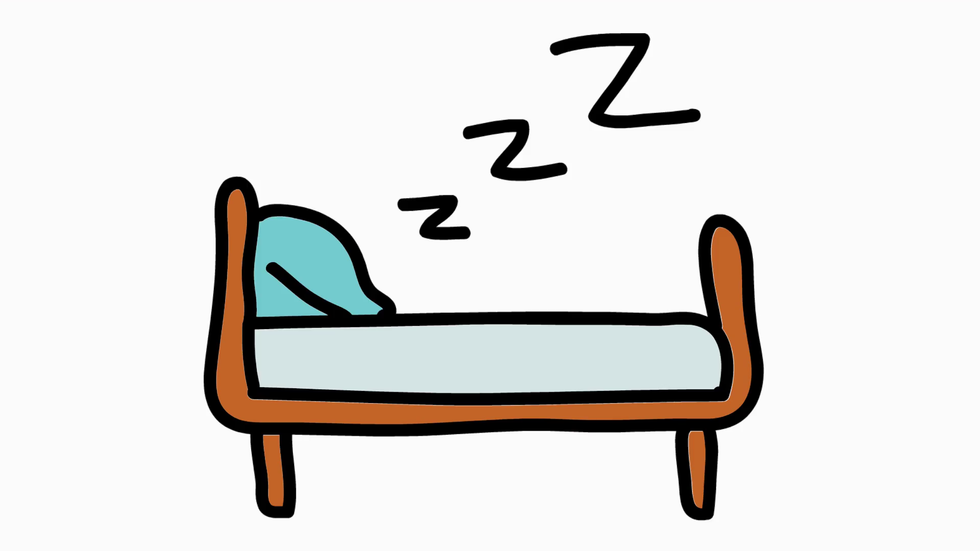 Sleep hand drawn color. Bed clipart transparent background