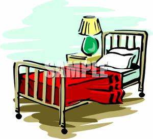 Bed clipart twin bed. A metal with lamp