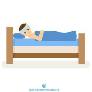 Ill man in the. Bed clipart vector