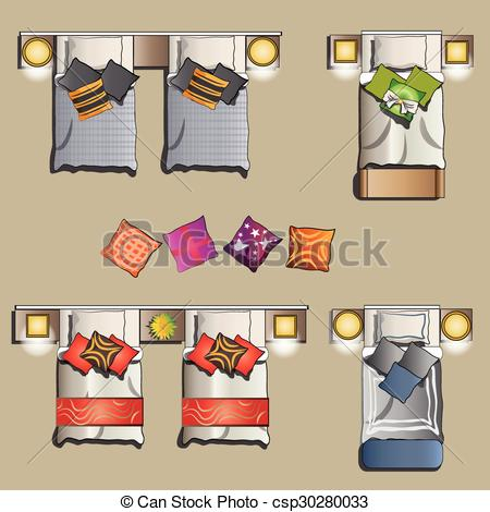Top view cliparts suggest. Bed clipart vector