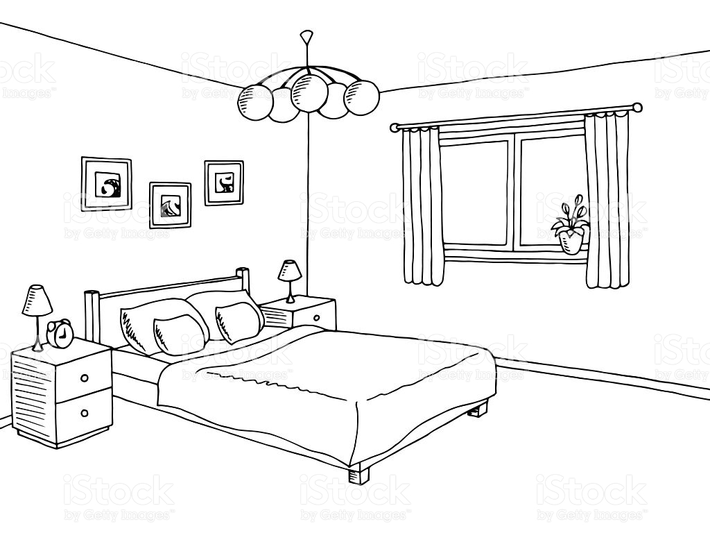 Bedroom clipart. Black and white station