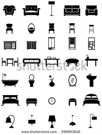 Silhouette flat home furniture. Bedroom clipart appliance
