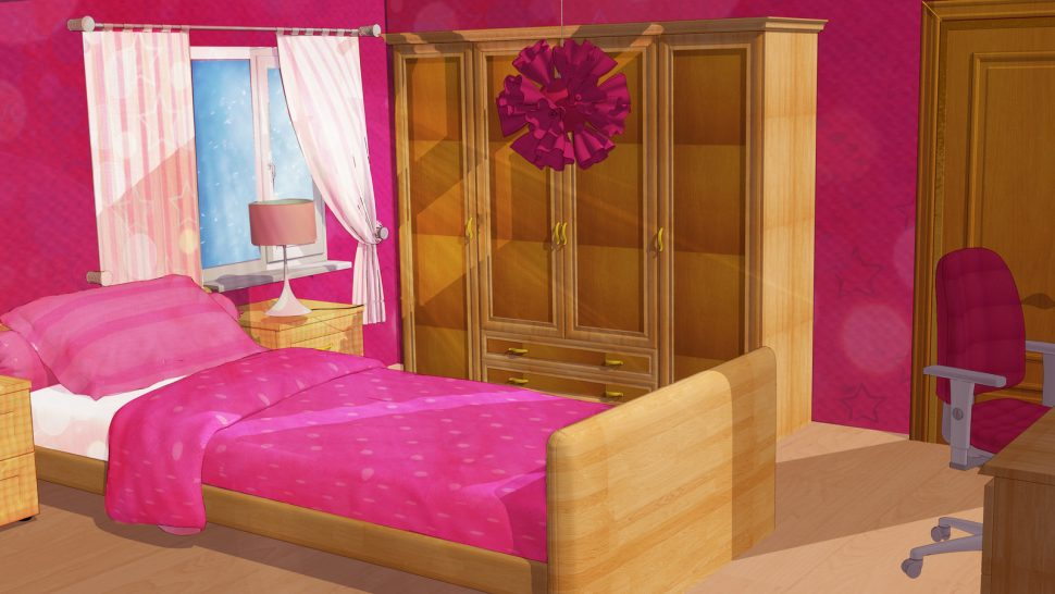 Anime style girl by. Bedroom clipart background