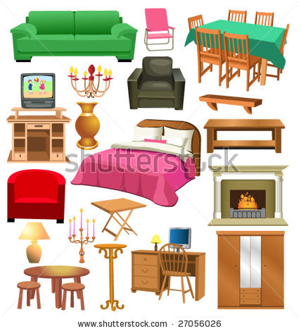 Things in the bedroom. Furniture clipart living room