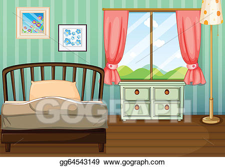 Bedroom clipart bedroom design. Vector art an empty