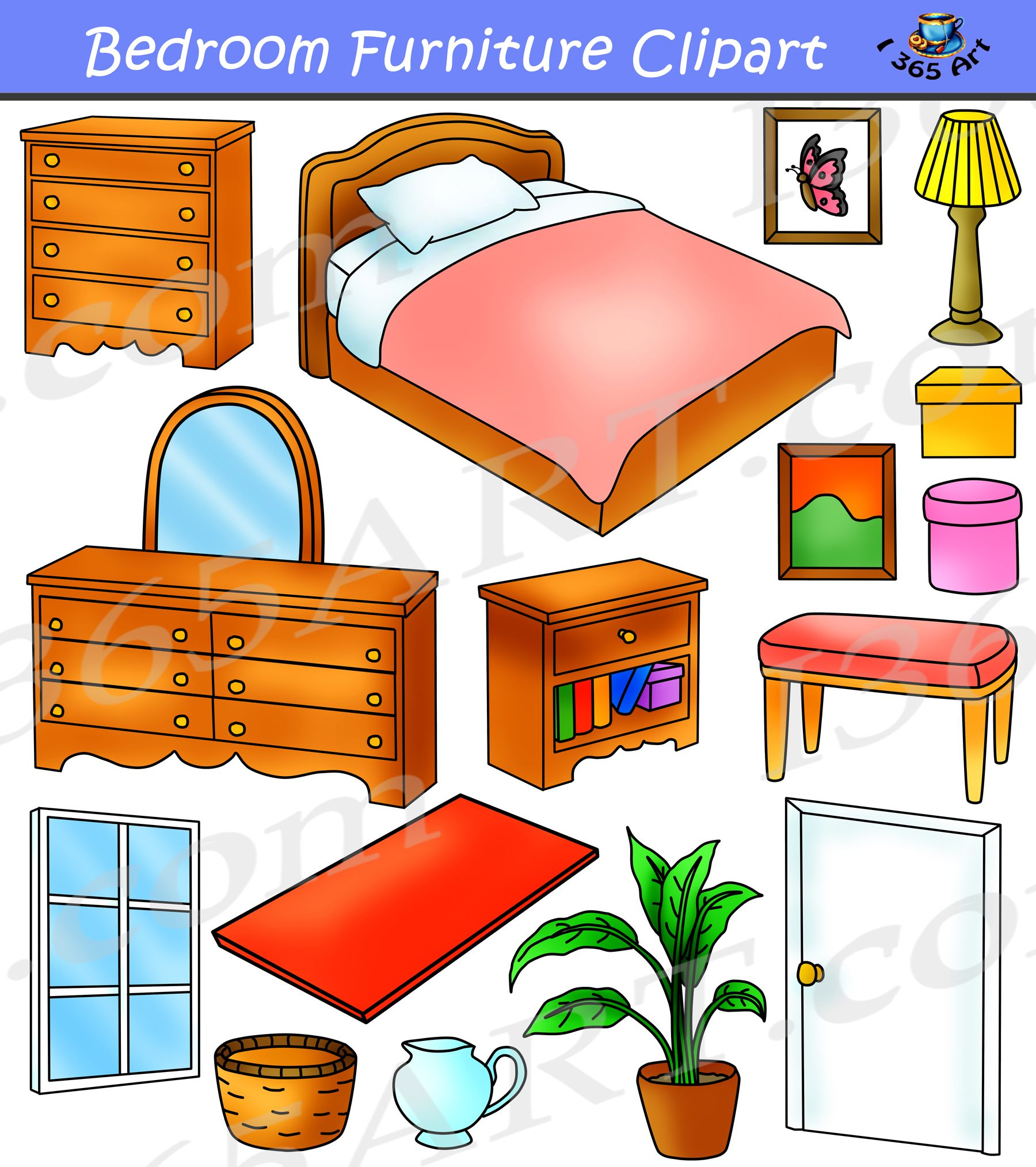 Furniture clipart household furniture. Colorful bedroom digital graphics