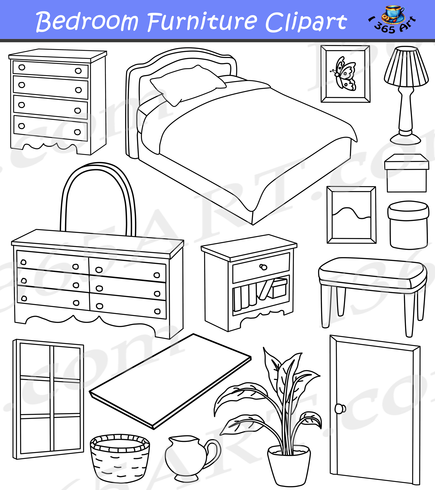 Bedroom home graphics commercial. Furniture clipart black and white