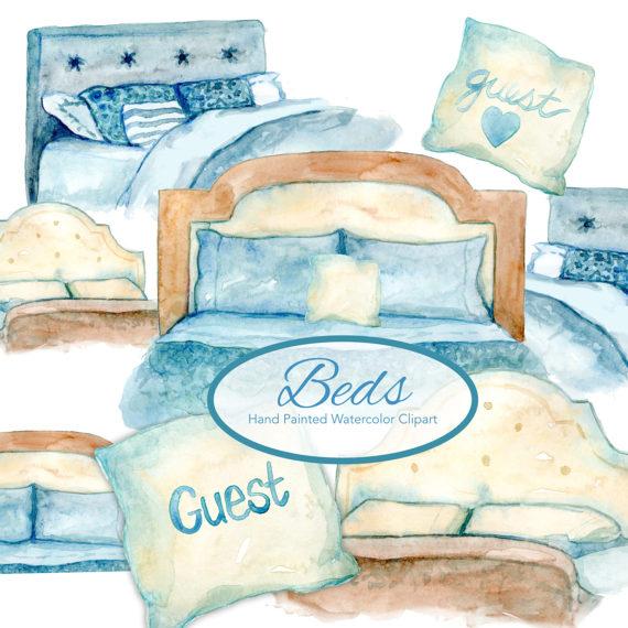 Watercolor bed beds clip. Bedroom clipart bedrrom