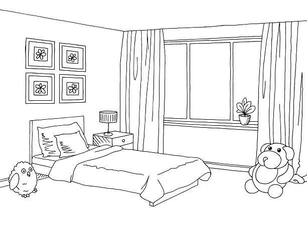 Kids modern home decor. Bedroom clipart black and white