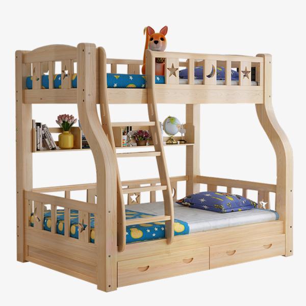 Solid wood children beds. Bedroom clipart bunk bed