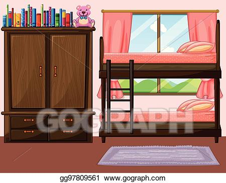 Bedroom clipart bunk bed. Vector with bunkbed and