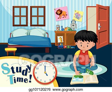 Bedroom clipart child bedroom. Vector stock a boy