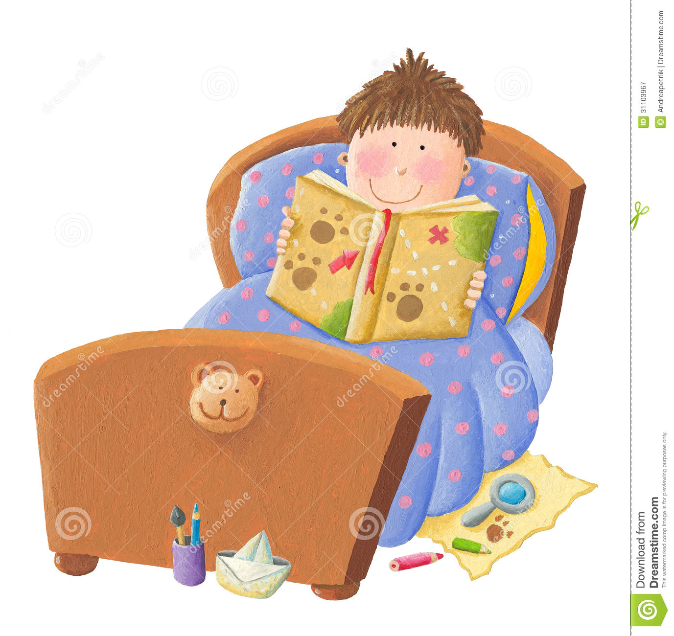 Bedtime clipart storytime. Child reading in bed