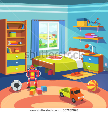 Bedroom clipart children's. Room children s pencil