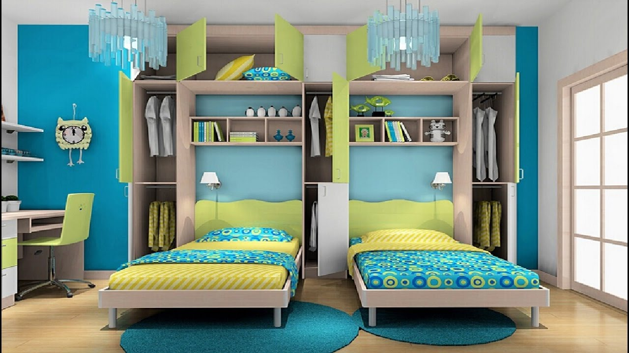 Bedroom clipart double bed. Kids room at home