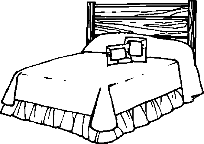 Bedroom colouring pages download. Bed clipart coloring