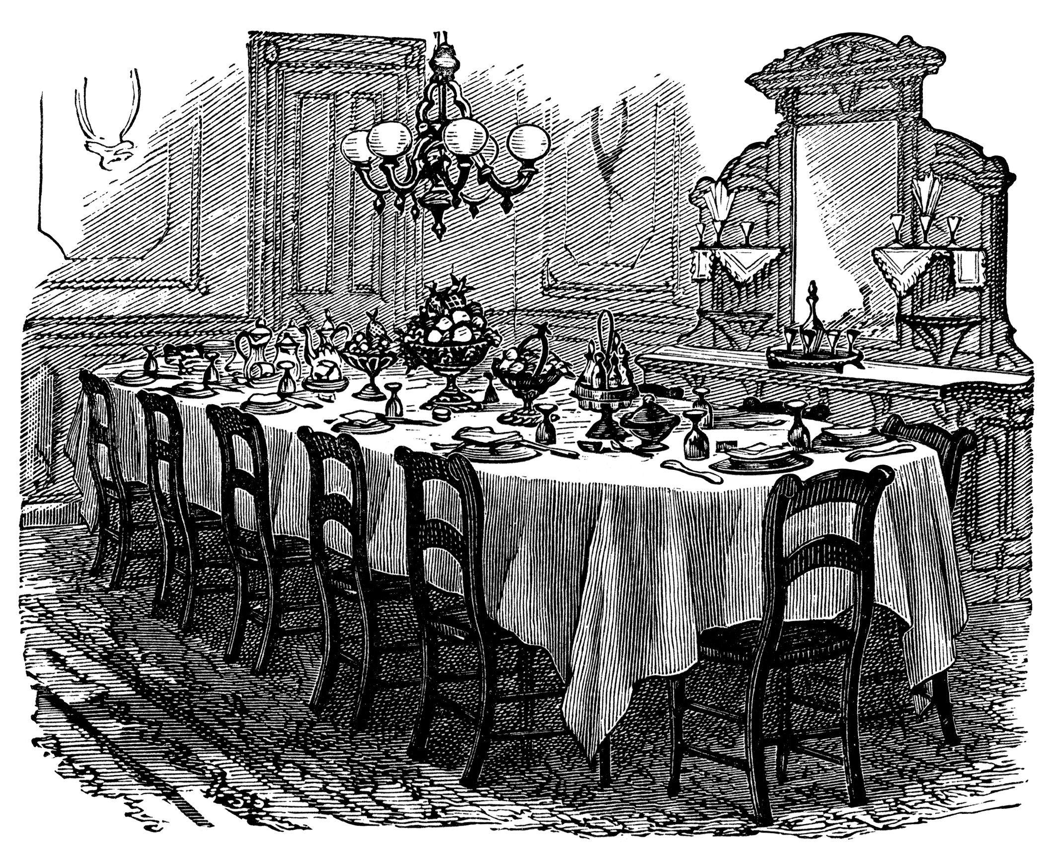 Vintage clip art black. Kitchen clipart kitchen dining room