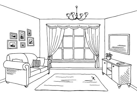 Black and white ayathebook. Bedroom clipart living room