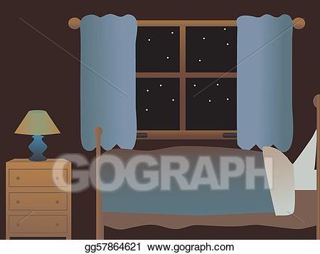 Night clipart night bed. Vector art empty bedroom