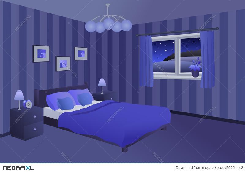 Modern bedroom blue black. Night clipart night bed