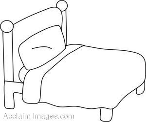 black and white. Bedroom clipart outline