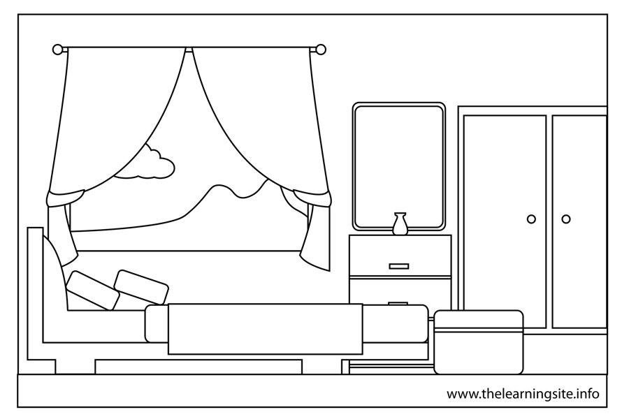 Bedroom clipart outline. The learning site coloringpageoutlinepartofahousebedroom