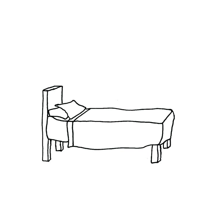 Bed and pillow vector. Bedroom clipart outline