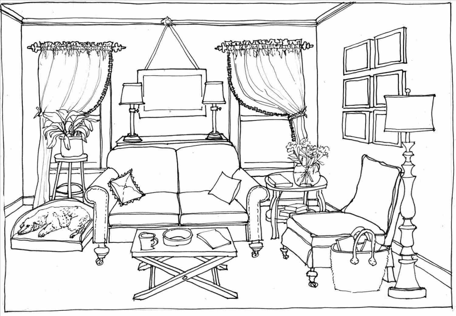 Things in the black. Bedroom clipart outline