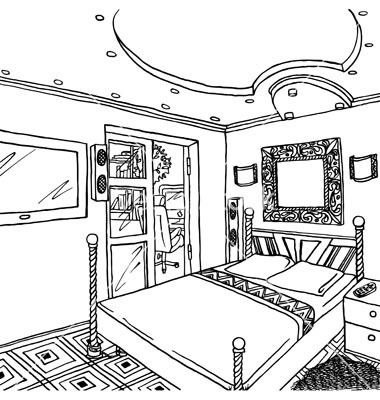 Bed black and white. Bedroom clipart room decor