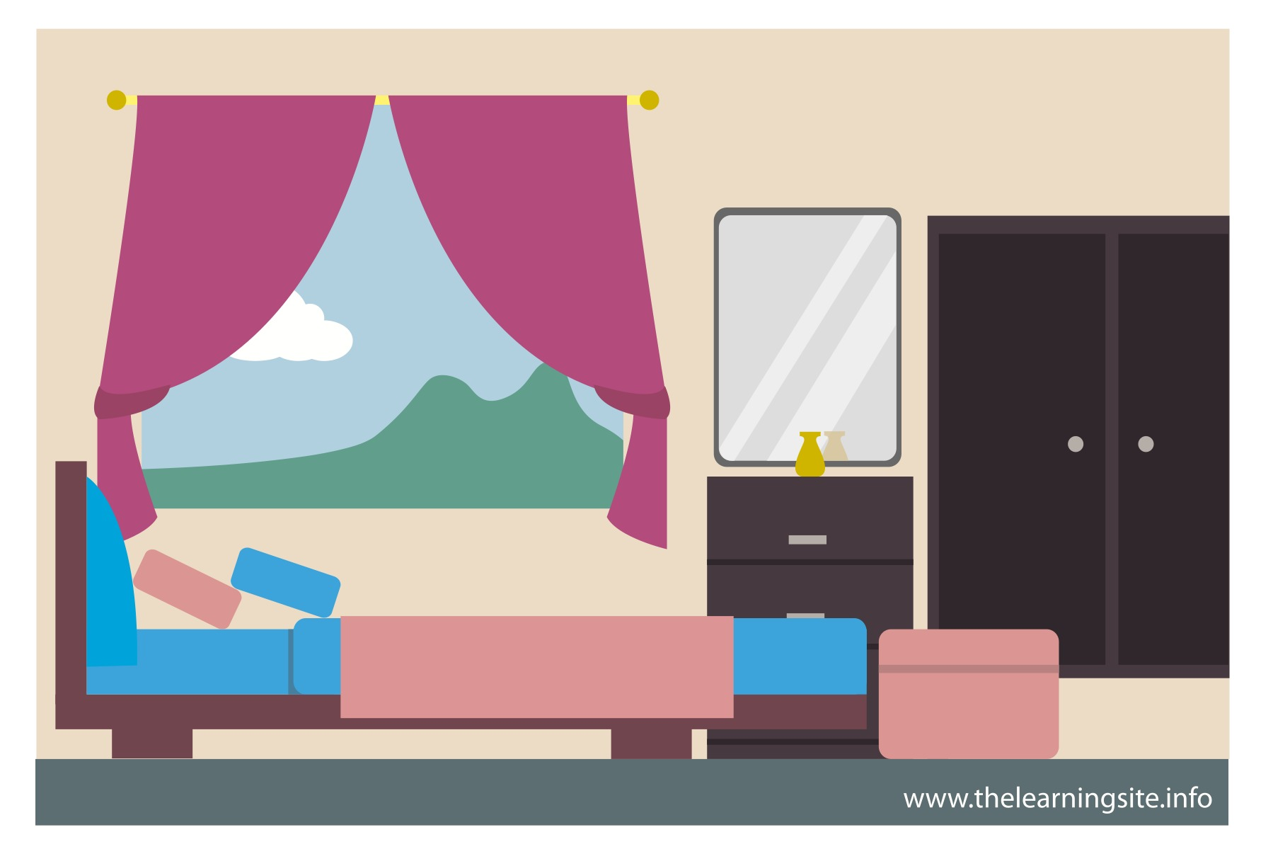 Small teen decor inspiring. Bedroom clipart simple