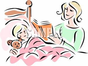 Bed clipart bedtime. Image mother reading story