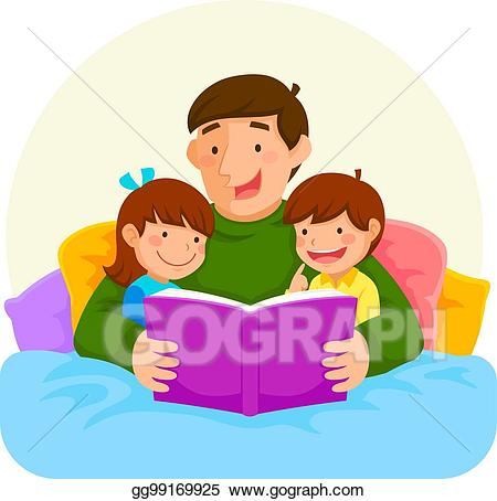 Bedtime clipart bedtime book. Vector stock story with