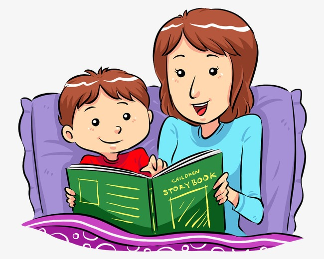 Storyteller mother and son. Bedtime clipart bedtime book
