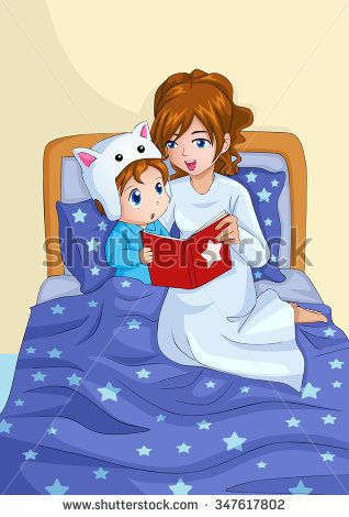 Bedtime clipart bedtime reading. Cartoon illustration of a