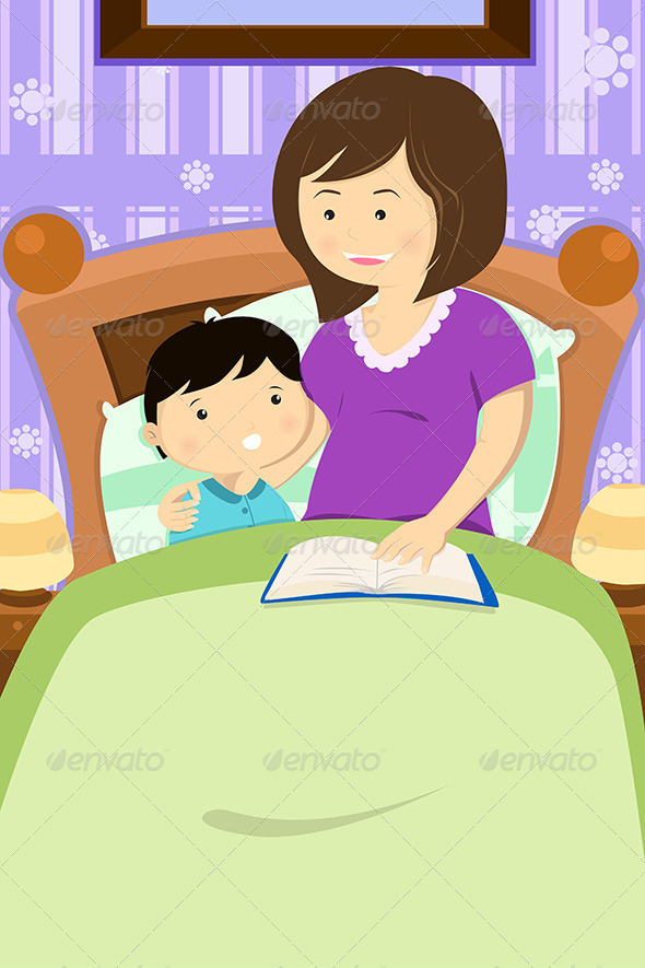 Mother a story by. Bedtime clipart bedtime reading