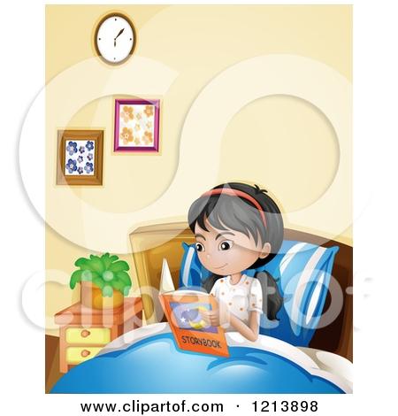 Bedtime clipart bedtime reading. Girl in bed